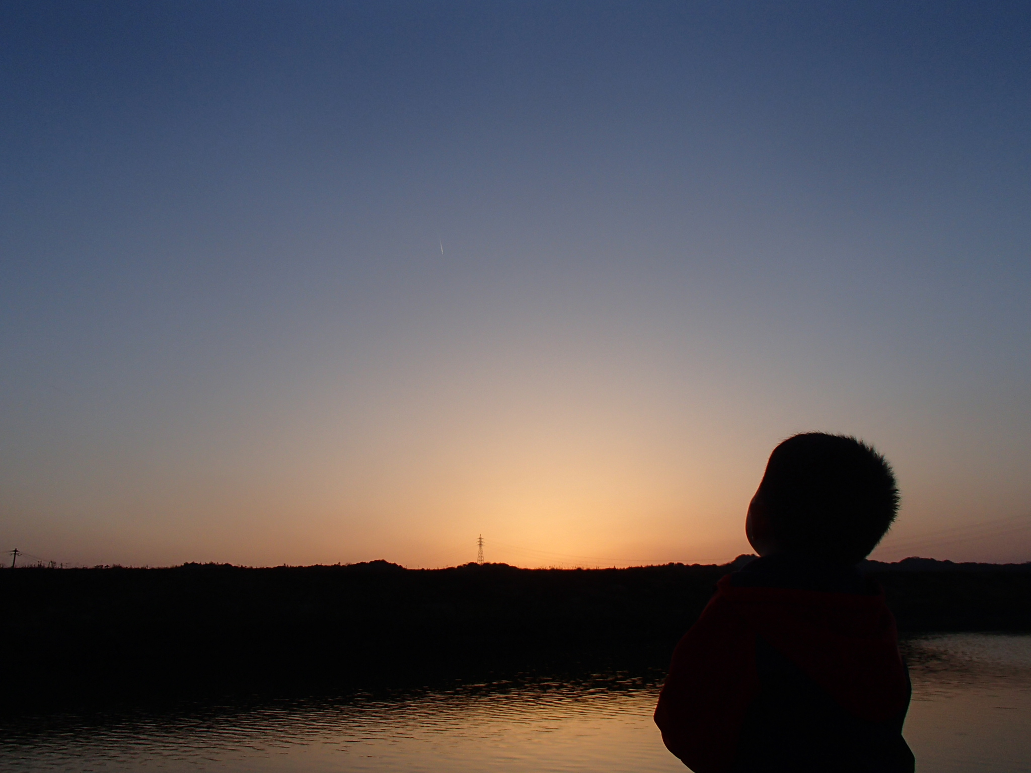 夕焼け空と息子